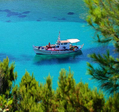 Fising boat at the coast of Skiathos