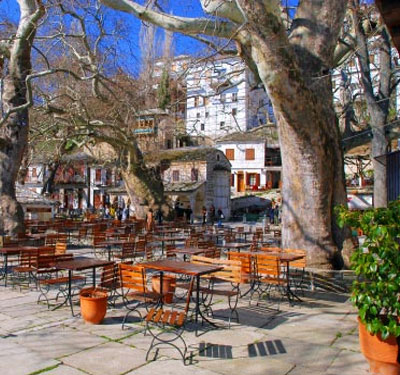 The picturesque village square of Makrinitsa
